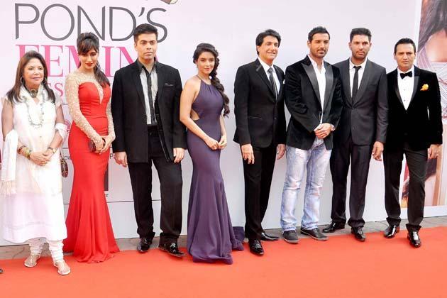 Chitrangada,Karan,Asin,Shiamak,John,Yuvraj And Marc Graced In Red Carpet At Femina Miss India Grand Finale 2013