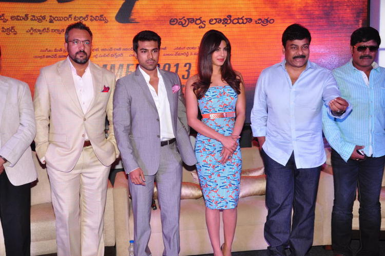 Apoorva,Ram Charan,Priyanka,Chiranjeevi And SriHari Clicked At Toofan First Look Trailer Launch Event