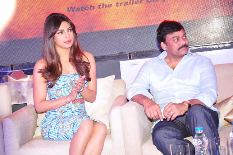 Priyanka And Chiranjeevi During The Toofan First Look Trailer Launch Event