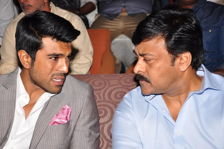 Ram Charan And Chiranjeevi Discussion Still At Toofan First Look Trailer Launch Event