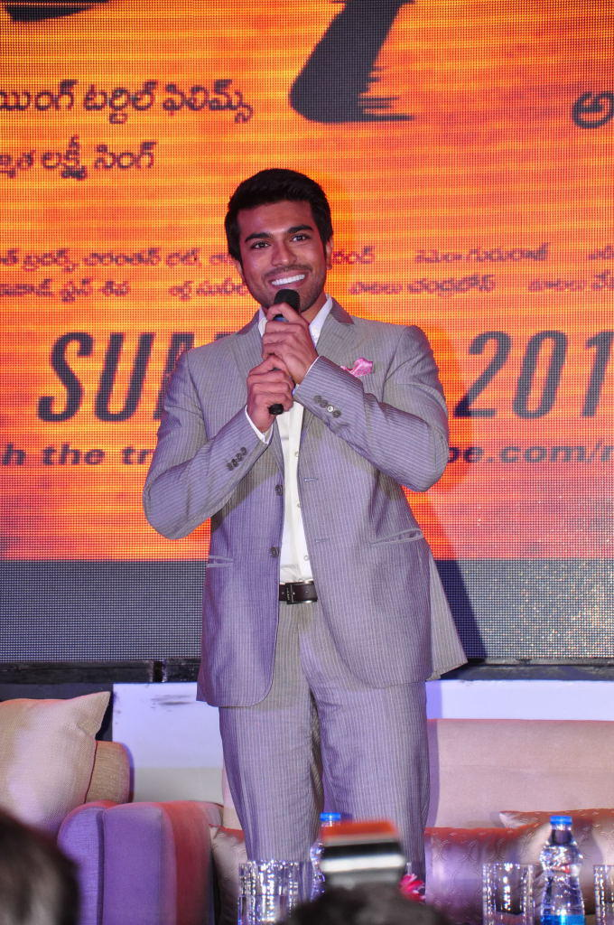 Smiling Ram Charan Teja Speaking Still At Toofan First Look Trailer Launch Event