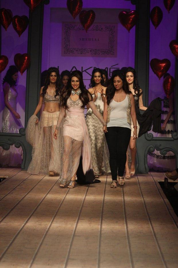 Karisma Walks On Ramp With Shehla At Lakme Fashion Week Summer Resort 2013