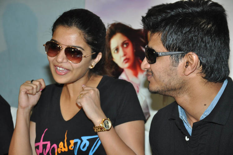 Swati Speaking Still And Nikhil Looks On At Swamy Ra Ra Movie Success Meet Event
