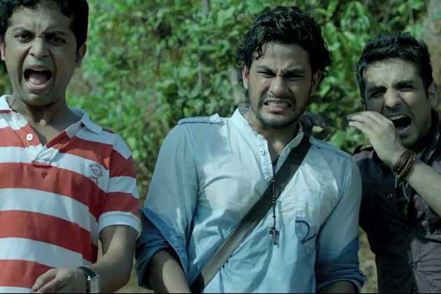 Anand Tiwari,Kunal Khemu And Vir Das Shouting Look Still From Go Goa Gone Movie