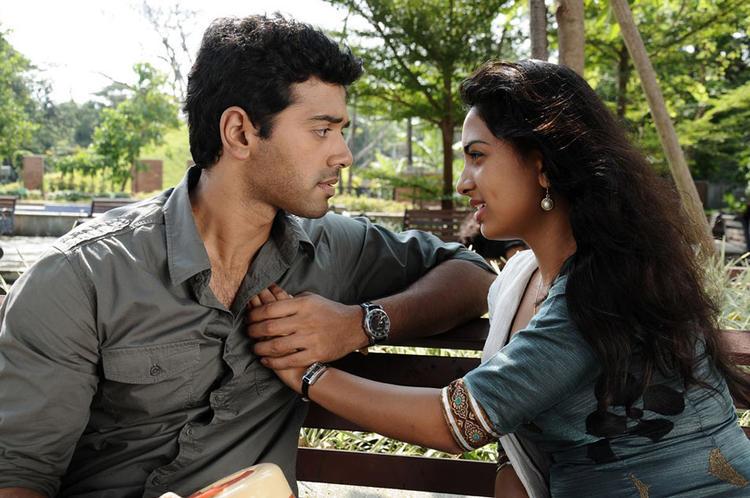 Ashwin And Srushti Latest Photo Still From Tamil Movie Megha