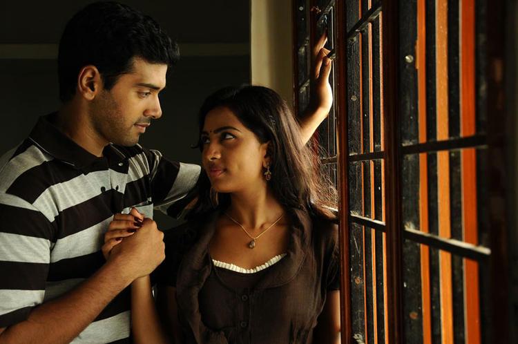 Ashwin And Srushti Romance Photo Still From Tamil Movie Megha