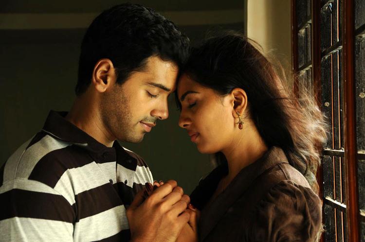 Ashwin And Srushti Sexy Expression Photo Still From Tamil Movie Megha