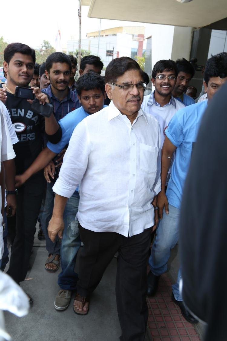 Allu Aravind Spotted At Chiranjeevi Blood Bank To Celebrate Ram Charan Birthday