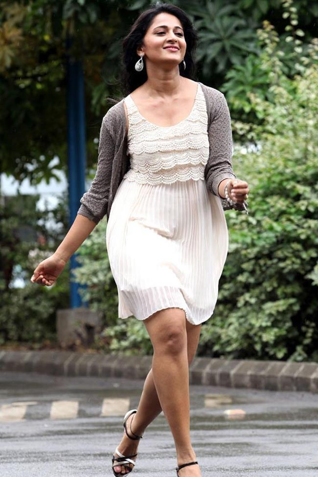 Anushka Shetty Trendy Looking Photo Still In A White Short Dress