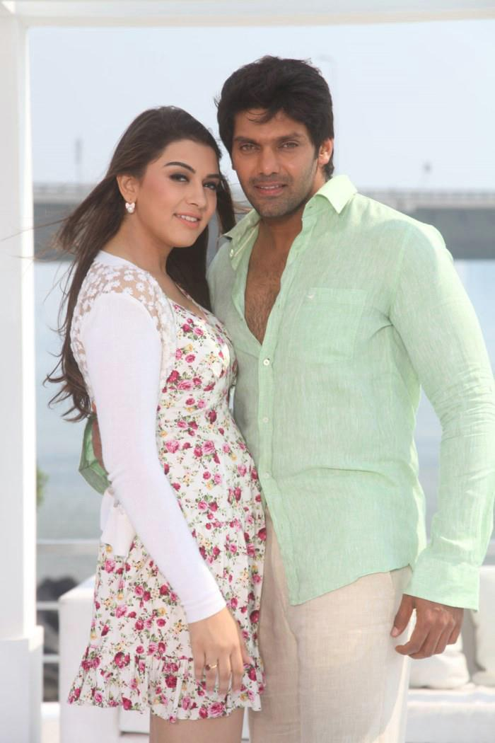 Arya And Hansika Nice Look With Cute Smiling Photo Still From Movie Settai