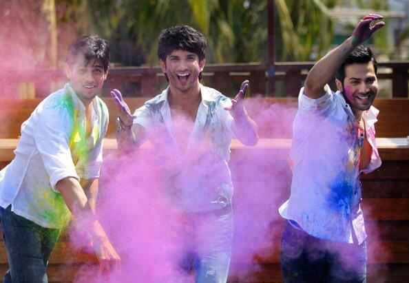 Sidharth,Sushant And Varun Playing Colors In Holi