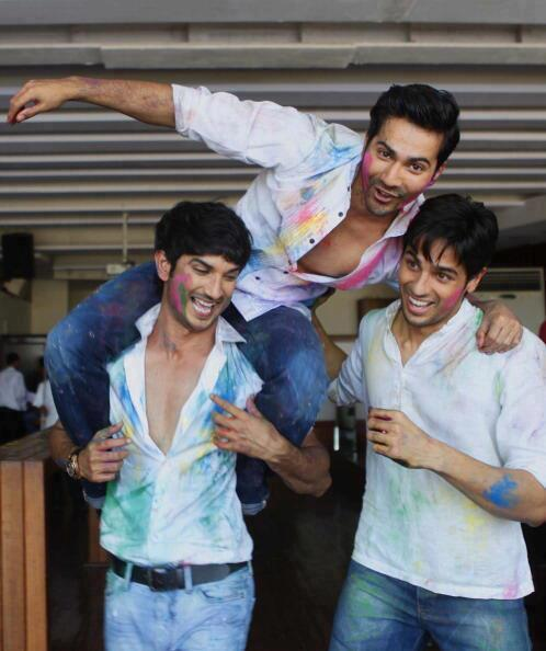 Sushant,Varun And Sidharth Cool In Holi