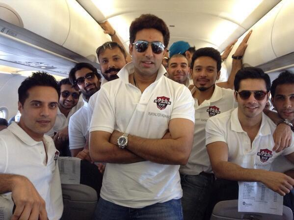 Abhishek,Varun And Others In Flight In The Way To Attend The ASFC Charity Match