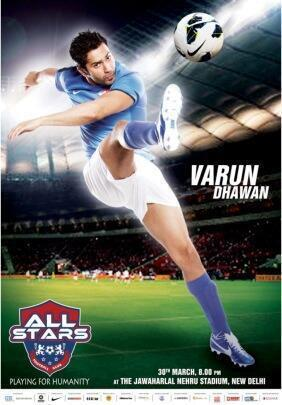 Varun Dhawan Awesome Kicking Pose For ASFC Charity Match Poster