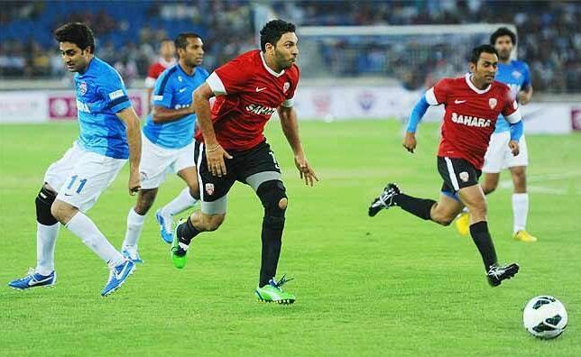 Yuvraj Singh And Mahendra Singh Dhoni Playing With Football At All Stars Football Club Charity Match