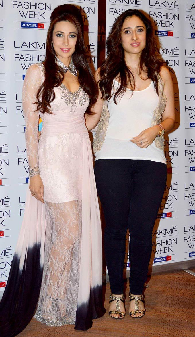 Karisma Posed With Designer Shehla At Lakme Fashion Week Summer Resort 2013