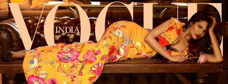 Esha Sizzling Look In A Floral Dress On The Cover Of Vogue India Magazine