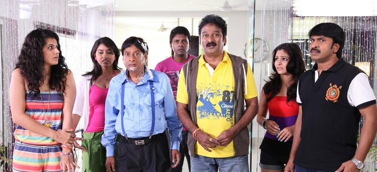 Taapsee,Krishna,M.S.Narayana,Srinivasa And Satyam Crazy Look Photo Still From Movie Shadow