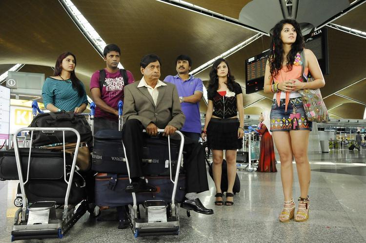 Taapsee,M.S.Narayana,Srinivasa And Satyam In Airport Photo Still From Movie Shadow