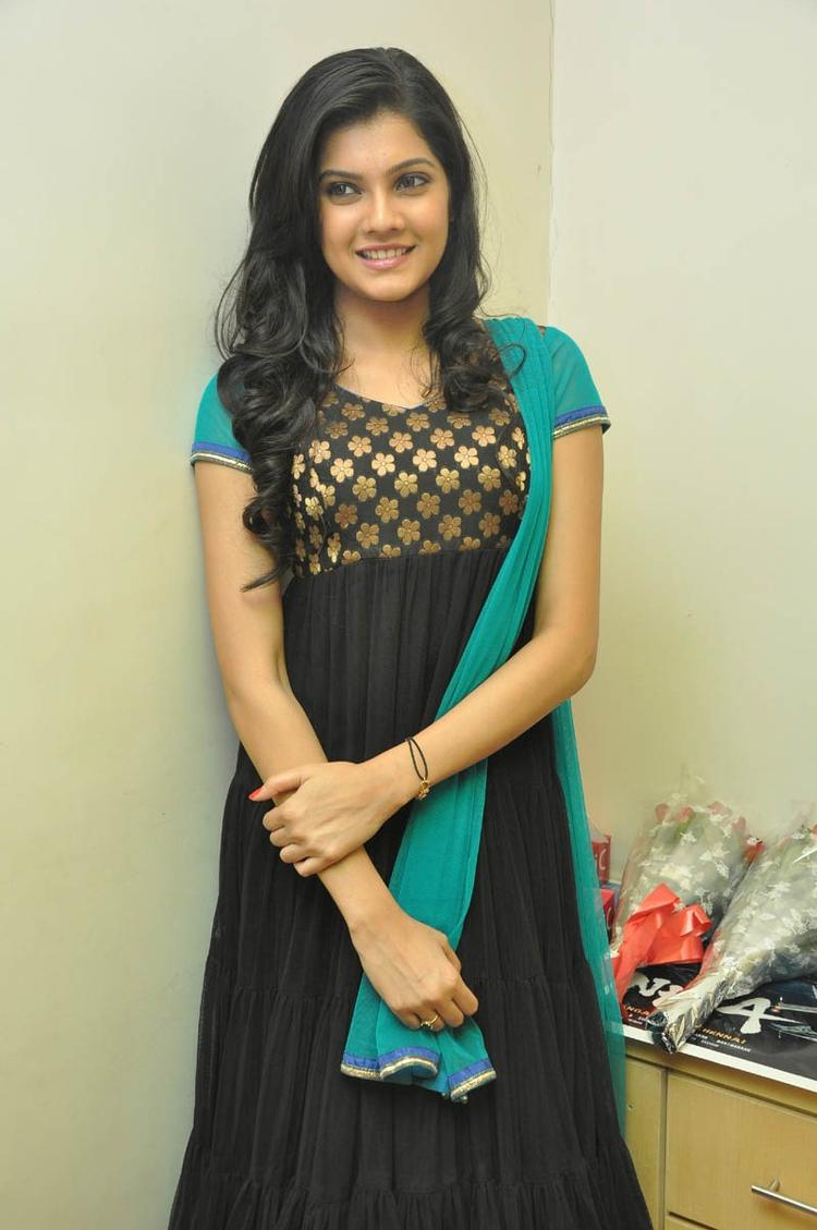 Ashritha Glamour Look Photo Still In Chudidar At NH4 Movie Audio Release Function