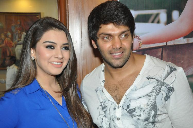 Arya And Hansika Glamour Look Pose For Camera At Crazy Audio Launch Function