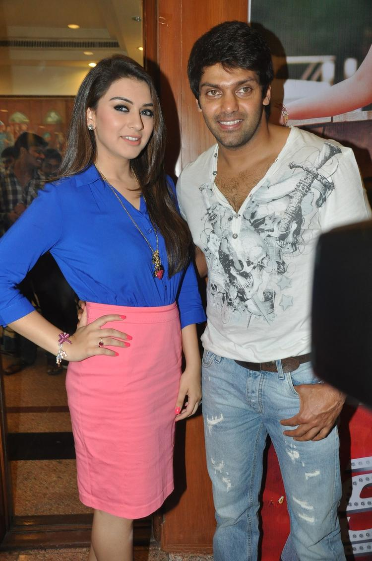 Hansika  And Arya Posed For Camera At Crazy Audio Launch Function