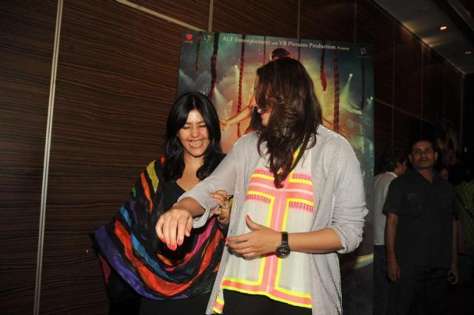 Huma  And Ekta Smiling Photo Clicked At The Launch Of Book Daayan