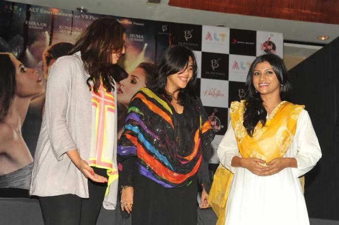 Huma,Ekta And Konkona Photo Clicked At The Launch Of Book Daayan