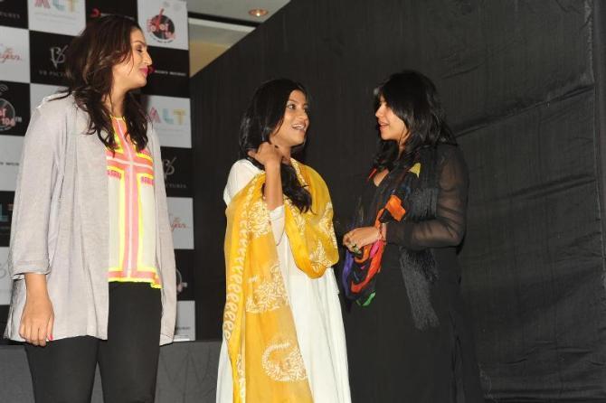 Huma,Ekta And Konkona Spotted At The Launch Of Book Daayan