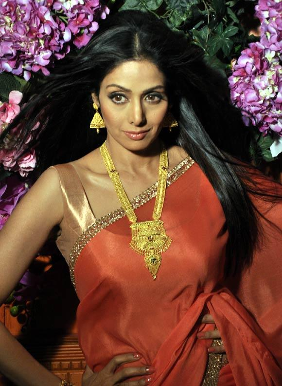 Sridevi Complete Her Look With Flowing Hair Photo Shoot For Tanisq Jewellery