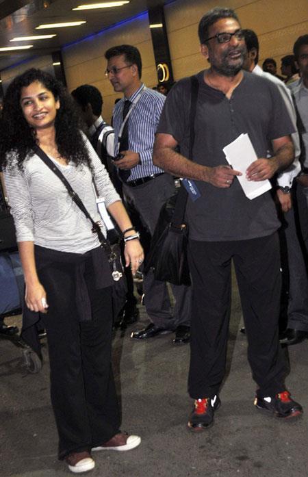 Gauri Shinde And R. Balki Spotted At Mumbai Airport Leaving For TOIFA 2013