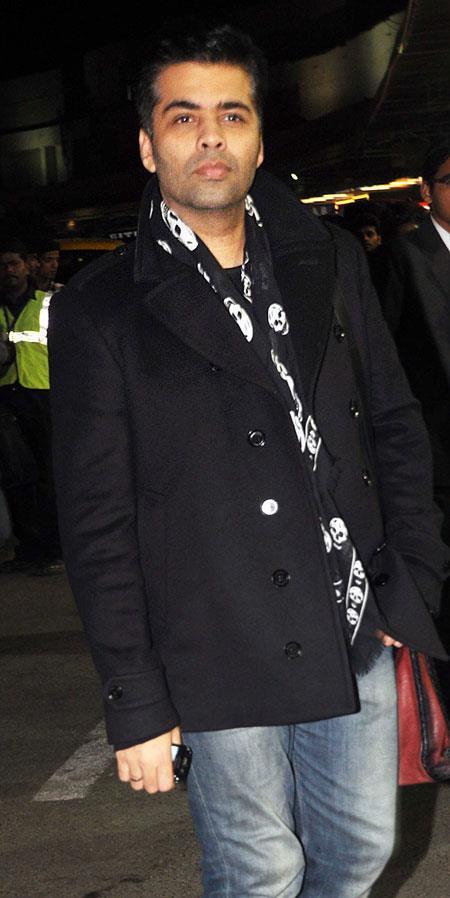 Karan Johar Dappers Look At Mumbai Airport Leaving For TOIFA 2013