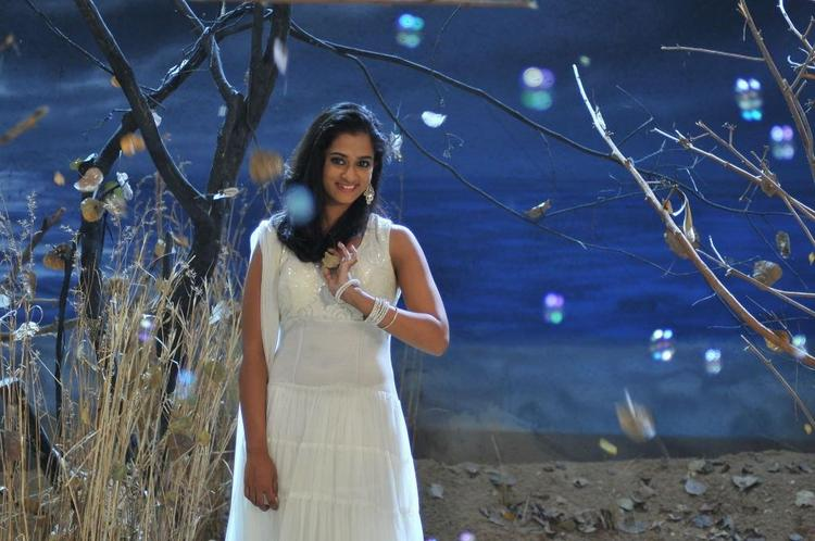 Nanditha Cute Look Photo Stills In A White Dress From Movie Prema Katha Chitram