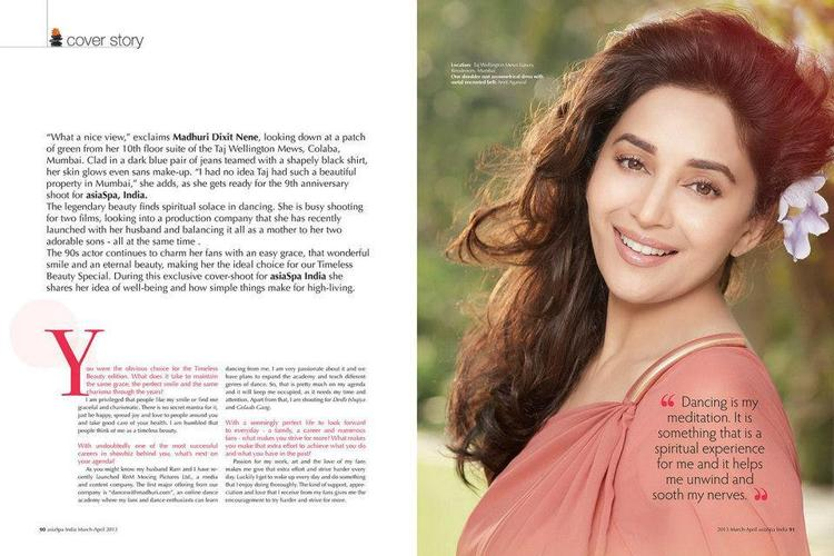 Madhuri Charmilng Look Photo On The Cover Of Asia Spa Magazine India April 2013