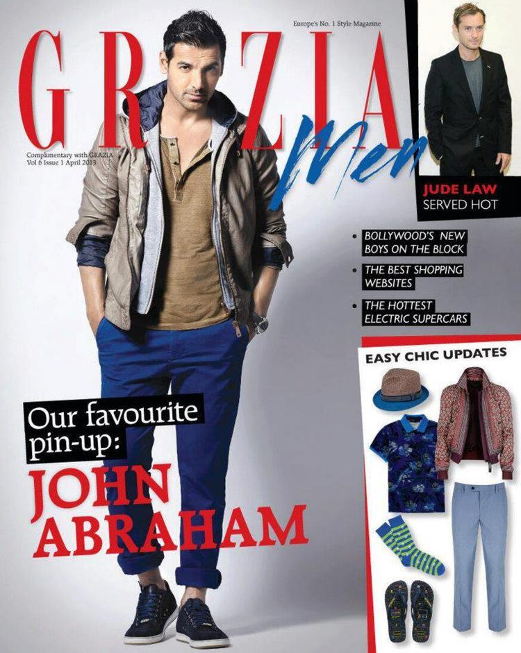 John Abraham Dashing Look Photo On The Cover Of Grazia Men April 2013