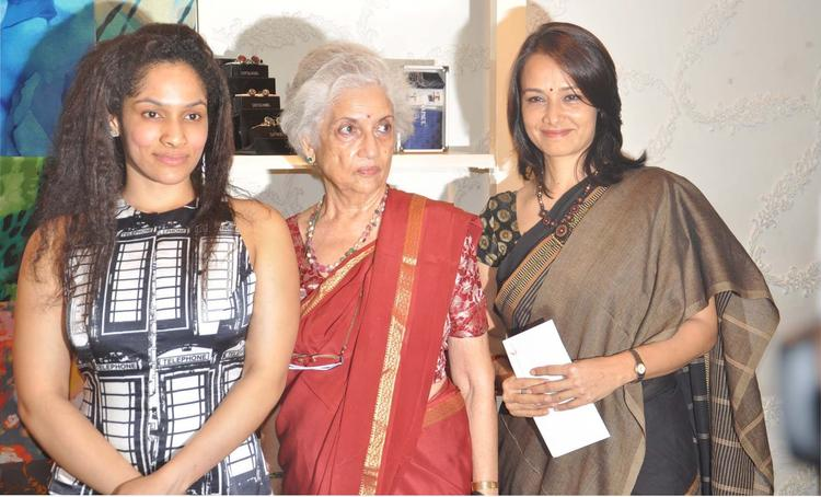 Designer Masaba Posed With Amala At Satya Paul Hyderabad
