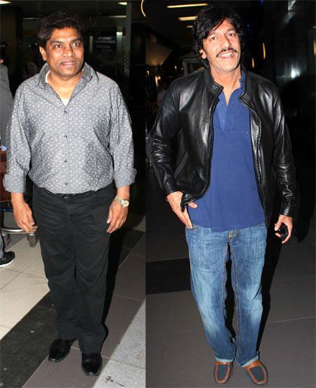 Johnny Lever And Chunky Pandey Smiling Look At Mumbai Airport On Their Arrival From TOIFA 2013