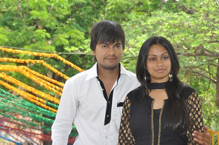Bhuvan And Sravani Cosy Photo Clicked At Jananam Movie Launch