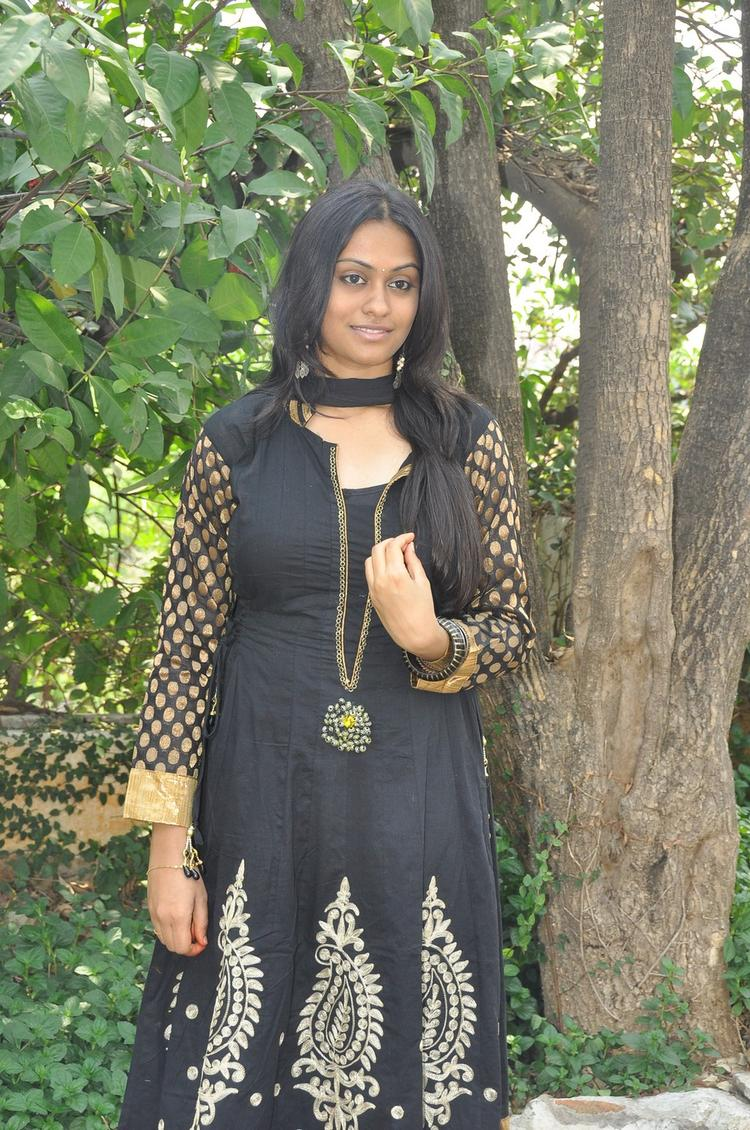 Sravani Looked Gorgeous In A Black Dress At Jananam Movie Launch