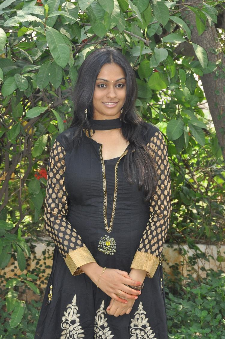 Sravani Looked Ravishing In A Black Chudidar At Jananam Movie Launch