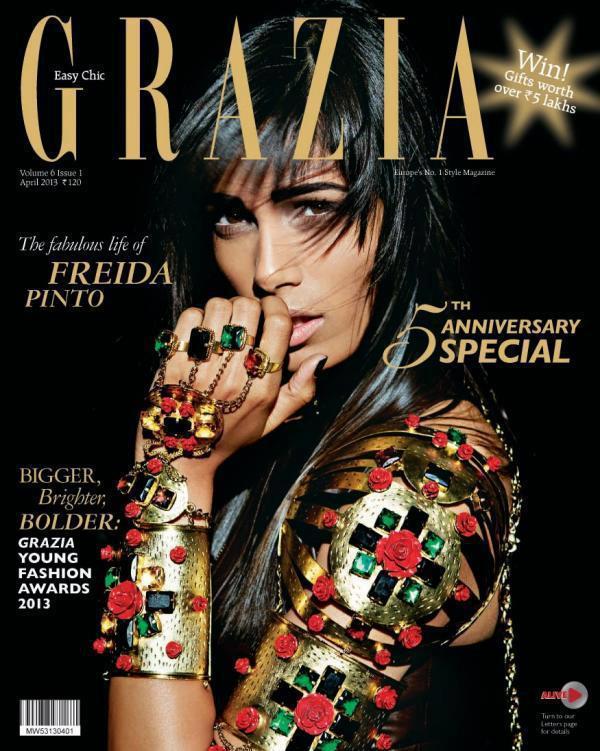 Freida Pinto Sexy Look Photo On The Cover Of Grazia India April 2013