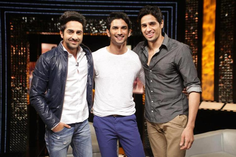 Ayushmann,Sushant And Sidharth Smiling Cool Pose At On The Front Row Show