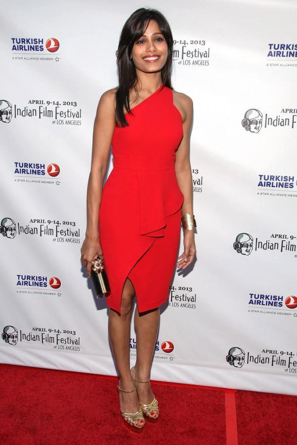 Freida Pinto Red Hot Look In Red Carpet At Indian Film Festival 2013