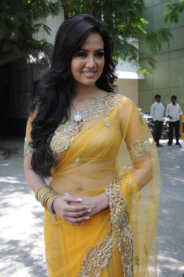 Sana Khan In Yellow Saree Fashionable Look At Nadigayin Diary Movie Audio Launch Function