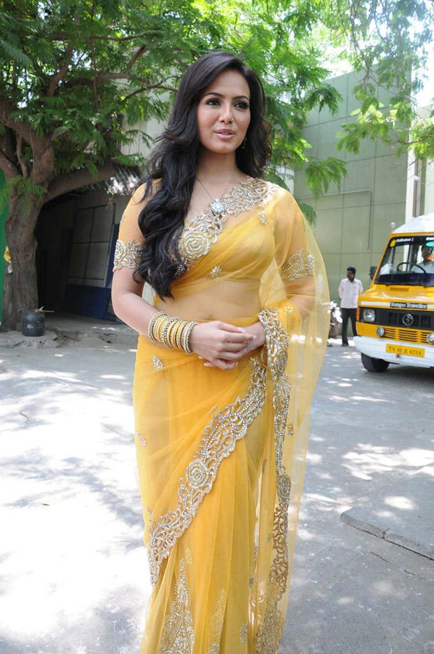 Sana Khan In Yellow Saree Glamour Look At Nadigayin Diary Movie Audio Launch Function