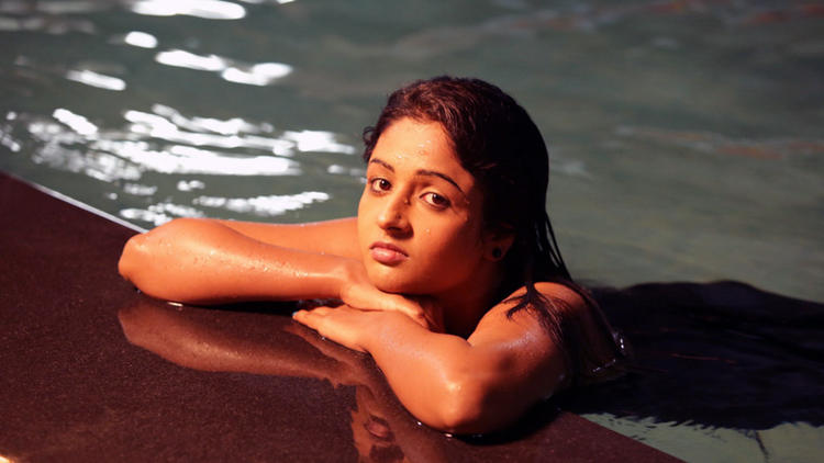 Amitha Hot Look In Swimming Pool Photo Still From Movie Chemistry