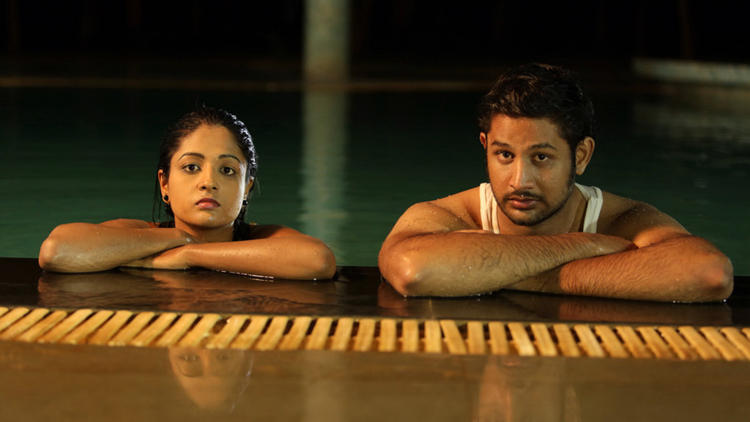 Sree Ram And Amitha In Swimming Pool Photo Still From Movie Chemistry