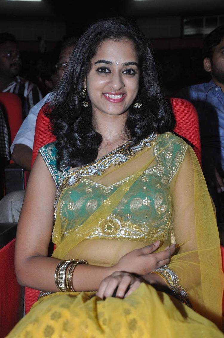 Nandita In Saree Smiling Look At Prema Katha Chitram Audio Release Function