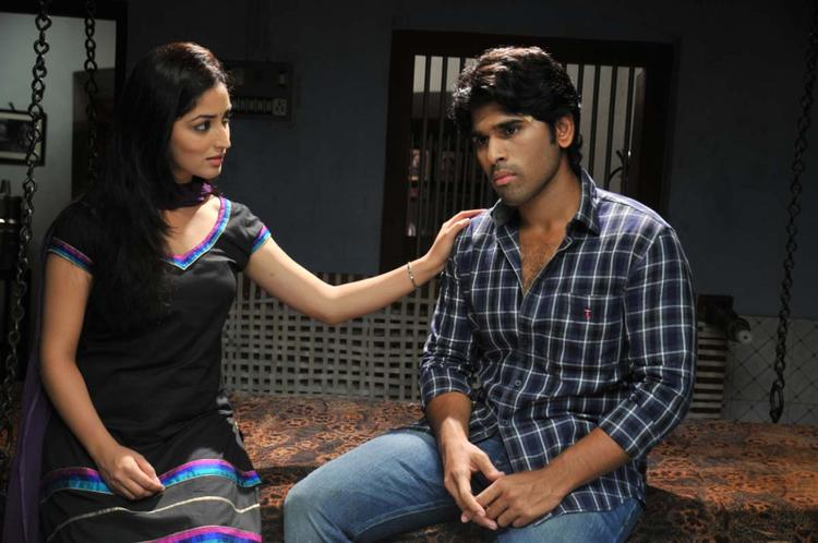 Sirish And Yami In A Deep Thought Photo Still From Movie Gouravam