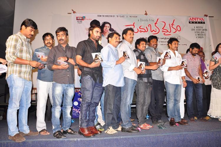 Chandu,Srinu Vaitla And Others Posed At Prema Oka Maikam Movie Audio Release Function